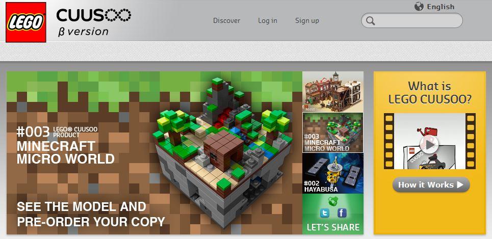 Screenshot des LEGO Cuusoo Portals mit dem Minecraft LEGO Bausatz