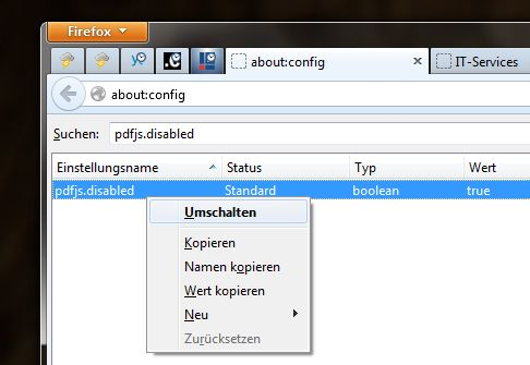 Firefox - integrierter PDF Reader
