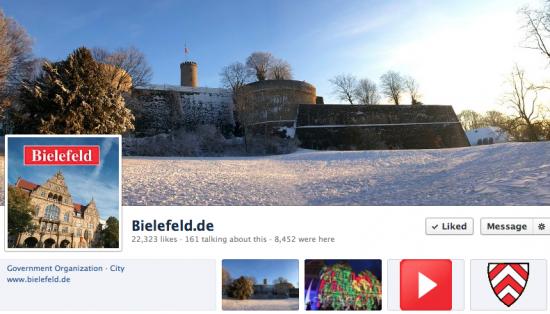 Screenshot der Facebookpage der Stadt Bielefeld