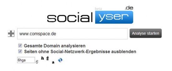 Socialyser - Start der Auswertung für comspace