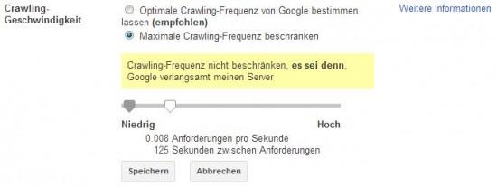 Crawling Geschwindigkeit des Google Bots regulieren