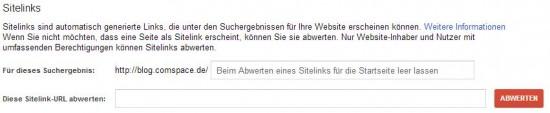 Google Webmaster Tools - Abwertung von Sitelinks