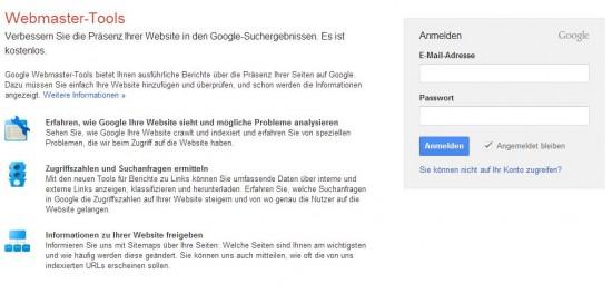 Google Webmaster Tools - Anmelde Oberfläche