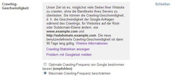 Probleme mit dem Google Bot melden
