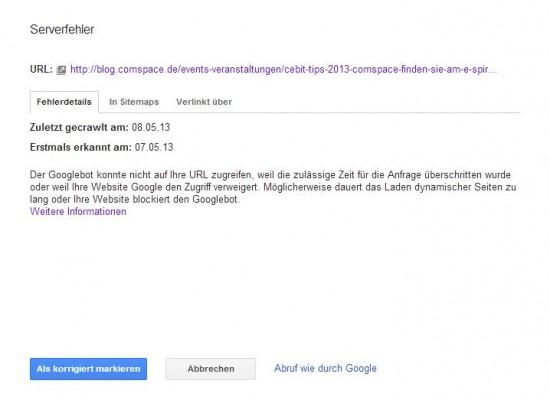 Google Webmaster Tools - Serverfehler 500 im Detail