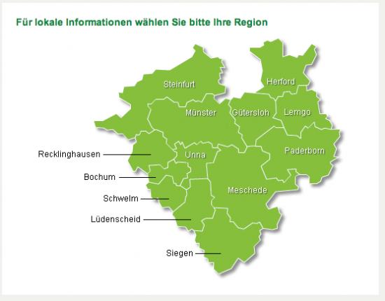Karte der Region Westfalen-Lippe ohne Bielefeld (c) AOK