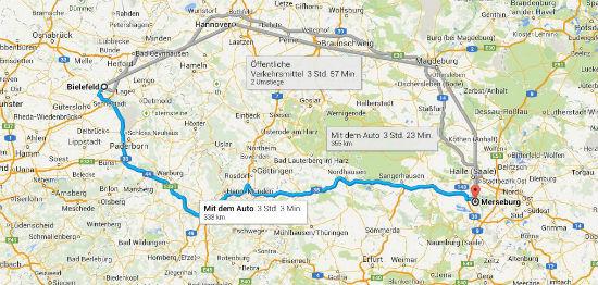 Bielefeld nach Merseburg