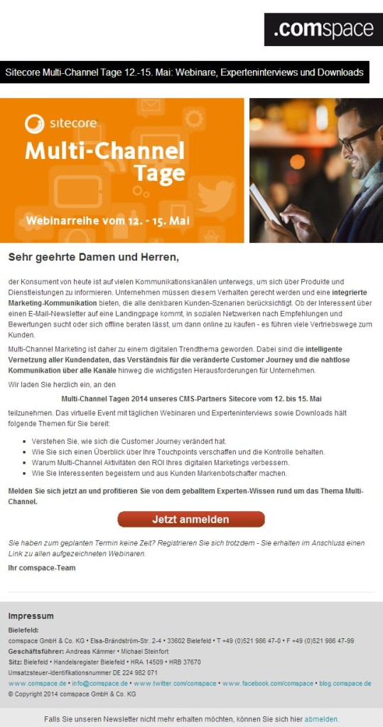 Newsletter Sitecore-Multi-Channel-Tage