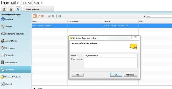 Anlegen einer neuen Aktion in Inxmail