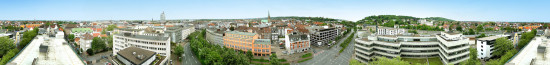 Klicken für eine größere Ansicht des Bielefeld Panoramas. Fotografiert mit Dermandar auf iPhone 5S