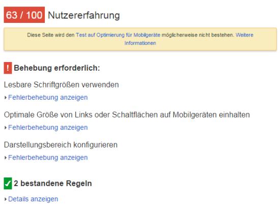 Google Pagespeed - Wie ist die Nutzererfahrung?