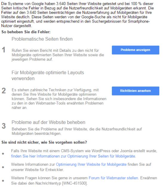 Google verschickt Warnhinweise über die Webmaster Tools