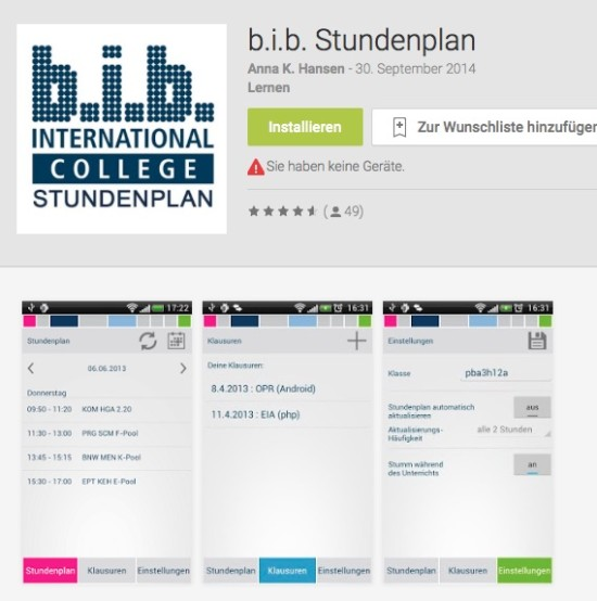 BIB-Stundenplan-App-Screenshot