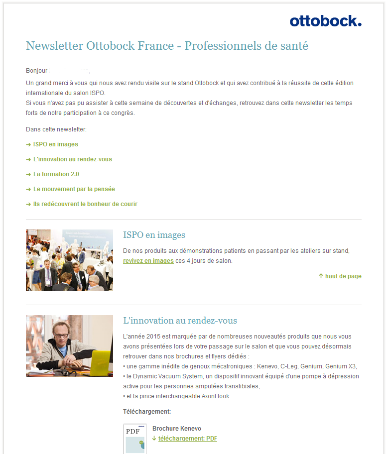 Newsletter Ottobock France