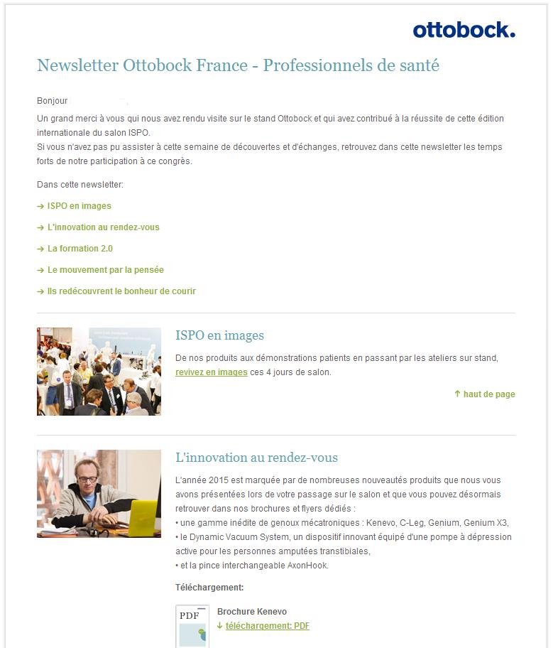 Newsletter Ottobock France