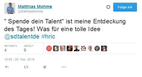HRIC-Tweet-Spende-dein-Talent-Matthias-Mohme