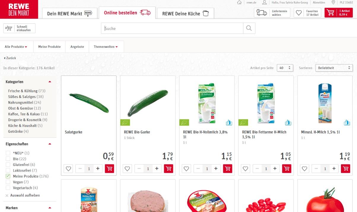 REWE Einkauf Shoppingliste Geschäftskunden