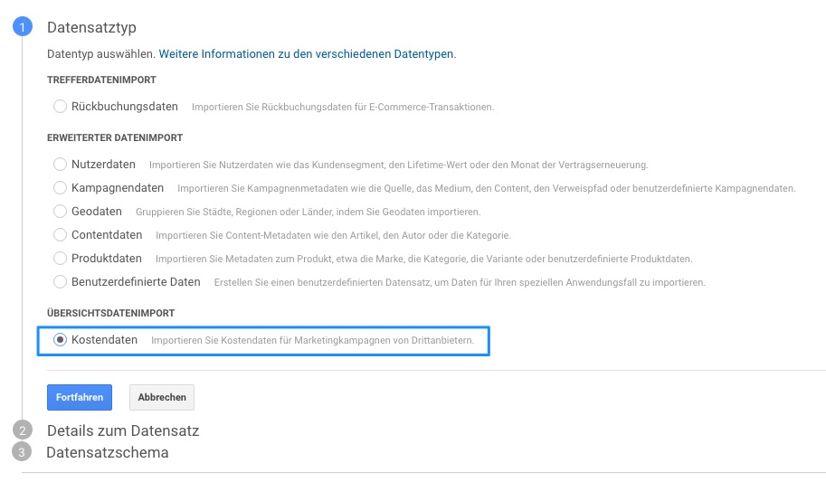 Google Analytics - Datenimport 1