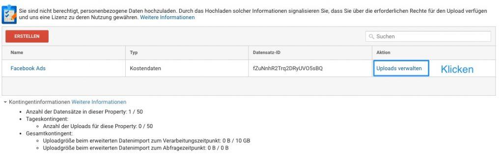 Google Analytics - Uploads verwalten