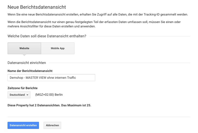 Google Analytics - Datenansicht konfigurieren