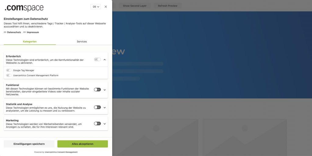 usercentrics CMP Version 2: Second Layer